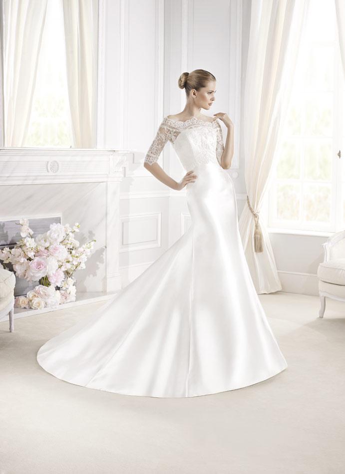 vestidos de novia costura, vestidos de novia en mikado, vestidos de novia La Sposa Barcelona