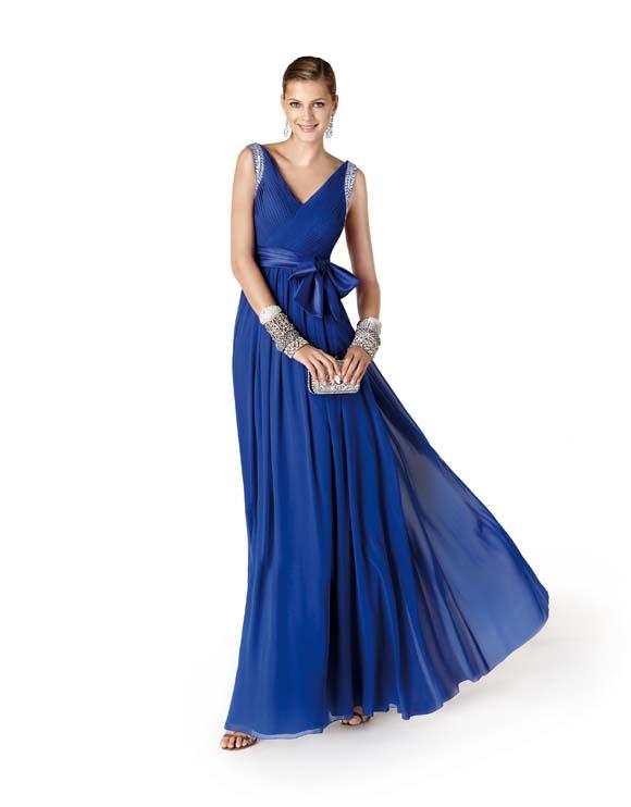 vestidos de fiesta Pronovias, vestidos de fiesta Barcelona, vestidos de fiesta azul eléctrico
